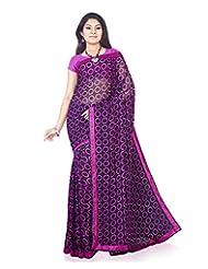 Aadarshini Women's Crepe Saree (104, Off White And Pink)
