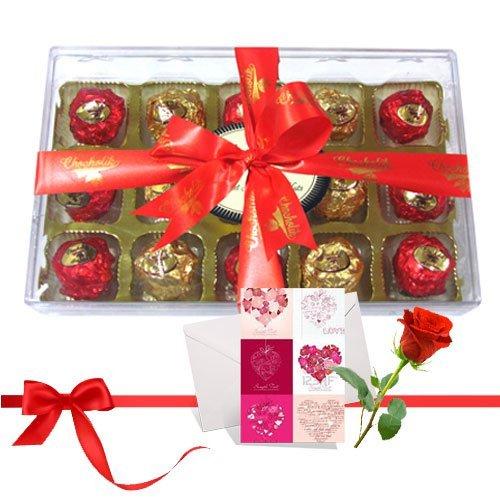 Beautiful Wrapped Chocolates With Love Card And Rose - Chocholik Luxury Chocolates