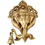 Two Moustaches Ganesh Face Wall Hanging With Bell - Designer (Length: 12.7 X Width: 17.78)