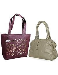 Arc HnH Women HandBag Combo - Elegant Grey Handbag + Blossom Maroon