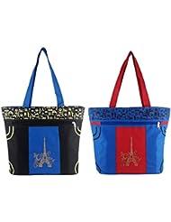 Diyaras Heavy Matty Navy Blue- Black & Blue-Red Women's Shoulder Or Shopping Bag. (Pack Of 2)