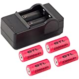 Alcoa Prime In Stock! 1Set 4 X 2300mAh 16340 Rechargeable Li-ion Battery For Flashlight+Battery Charger Newest