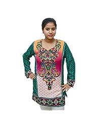 Odishabazaar Women's American Crepe Kurti Short Kurta Blouse Floral Print In Green XL