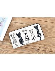 Cute MoodyCats Long Women's Wallet Purse Clutch Handbag For Womens Zipper Long Wallet Purse Clutch (Beige)