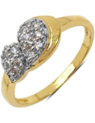 Johareez: 1.60 Grams White Cubic Zirconia Gold Plated Brass Ring