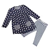 Internet Kids Girls Toddler Clothes Set Bunny Shirt Dress+Leggings (1 year, Navy)