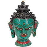 Exotic India Lord Buddha Head - Brass Statue With Inlay - B00R86IICQ