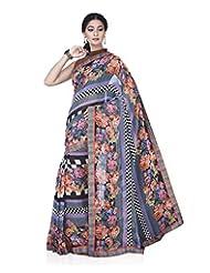 Aadarshini Women's Chiffon Saree (4077, Purple And Orange)