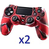 2 Pack Slick Blue Ps4 Controller Silicone Protective Case Skin For Sony Play Station 4 Gaming Controller Case...