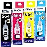Original Epson Ink All Colors (T6641-B,T6642-C,T6643-M,T6644-Y) 70 Ml Each For L100/L110/L200/L210/L300/L350/L355...