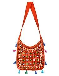 Rajrang Indian Designs Cotton Embroidered Circles Orange Sling Bag - B015PKG3F0