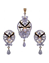Natural Pearl & Cubic Zircon Studded Pendant & Earrings Set With Enamel Work