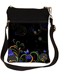 Snoogg Abstract Swirl Design Elements Cross Body Tote Bag / Shoulder Sling Carry Bag