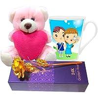 Valentine Gift HomeSoGood The Valentine Selfie White Ceramic Coffee Mug With Golden Rose & Teddy - 355 Ml