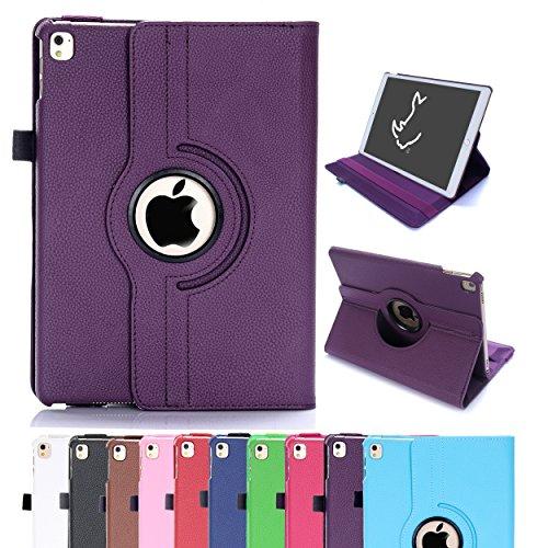 Étui pour iPad Air 2, Étui Housse Intelligent Rotatif RC 360 Couverture en Cuir PU pour Apple iPad Air 2 avec Sommeil / Éveil (iPad Air 2, Violet)