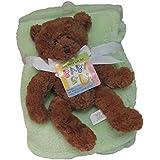 Cozy Fleece Fluffy Fleece Baby Blanket With Novelty Bear, Mint