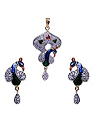 Alluring Cubic Zircon Studded Pendant & Earrings Set With Enamel Work