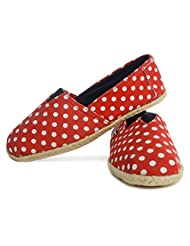 Buylane Red Polka Print Cotton Canvas Jute Laces Casual Loafers Ladies Footwear