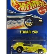 Classic Ferrari 250 1991 Hot Wheels #117 Yellow With Seven Spoke Wheels On Solid Blue Card