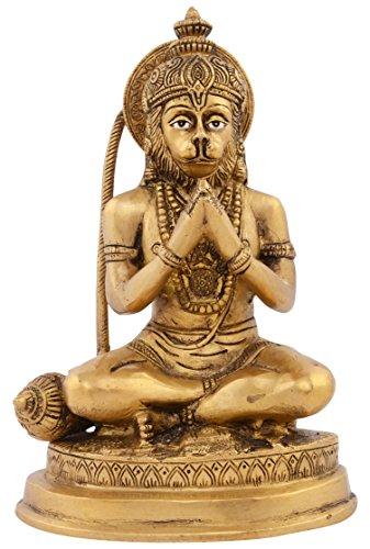 Kapasi Handicrafts Emporium Brass Lord Hanuman Sitting Idol 12 25