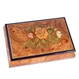 Italian Hand Crafted Inlaid Light Burl Wood Musical Jewelry Box - Plays Tune La Vie en Rose