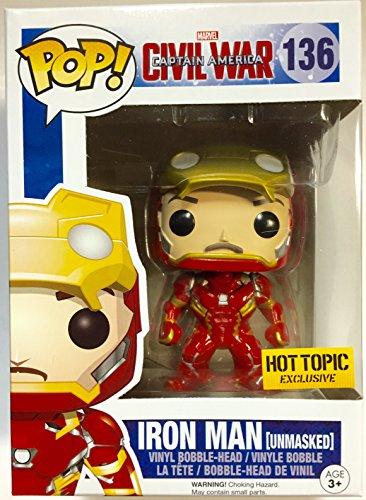 Funko POP! Marvel Captain America Civil War : Iron Man Unmasked #136 Hot Topic Exclusive Vinyl Figure