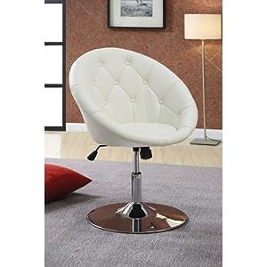 Amazon.com: Coaster 102583 Round-Back Swivel Chair, White