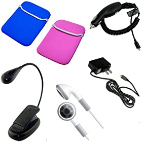 Amazon Kindle 2 eBook Reader Accessories Bundle Pack: Blue / Pink Reversible Neoprene Sleeve Case, Car Charger, Wall / Travel / AC Adapter Charger, Earphones, and a Clip on eBook Reading Light / LED