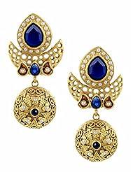 The Art Jewellery - Rajwadi Earrings With Blue Stone