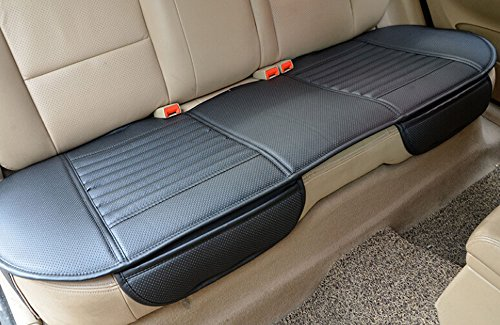 EDEALYN Auto Interior Accessories Styling PU Leather Charcoal Car Seat Cover Pad Seat cushion Mat Protective Cover for Car/ Office Chair ,Universal Seatpad (Black- Back row)