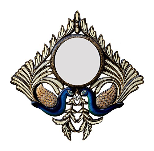 Divraya Wood Peacock Wall Mirror (60.96 Cm X 4 Cm X 60.96 Cm)