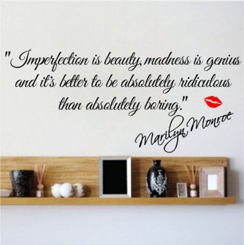 M IMPERFECTION IS BEAUTY-MARILYN MONROE WALL STICKER QUOTE DECAL ART Decor