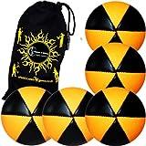 Flames N Games Astrix Uv Thud Juggling Balls Set Of 5 (Black/Orange) Pro 6 Panel Leather Juggling Ball Set & Travel...