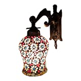 Handicraft KottageWeldecor Antiua Brasso Floral Polka Dots Stars Wall Lamp (30 Cm, Multicolor)