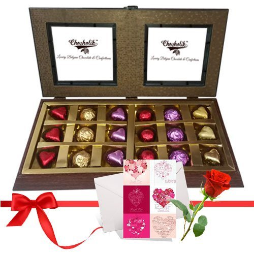 Sparkle Treat Of Wrapped Chocolates Gift Box With Love Card And Rose - Chocholik Luxury Chocolates