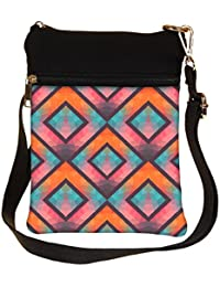 Snoogg Colorful Triangles Cross Body Tote Bag / Shoulder Sling Carry Bag