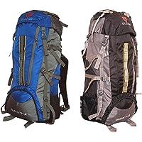 Gleam 2209 Mountain Rucksack / Hiking / Trekking Bag / Backpack 75 Ltrs ( Royal Blue & Black Set Of 2 Bags ) With...