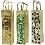 Virtual Concepts Natural Jute Wine Bag, Set Of 3, Natural