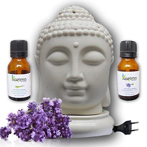 Kazima Ceramic Electric Aroma Oil Diffusers With Free Lavender & Lemongrass Essential Oil 15ml - B01KX45CO6