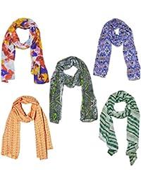 Weavers Villa Set Of 5 Premium Soft Summer Vibrant Coloured Trendy Scarf, Stoles, Dupattas - B01G0FS76W