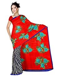 Anand Sarees Faux Georgette Self Print Saree - B013SYS2HC