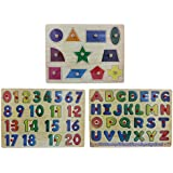 Wooden Alphabet, Number & Shapes Puzzle Picture Board With Knobs - (1c290) - Learning Educational Math Toys For...