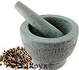 Mörser mit Stößel (massiver Mörser aus Naturstein , Natur belassen, mit Schlegel teil poliert) , iapyx® -