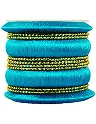 Kalyani Covering Navy Blue Thread Metal Bangle Set For Women & Girls