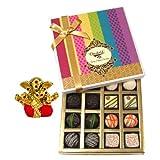 Chocholik Belgium Chocolates - Assorted White And Dark Truffle And Chocolate Gift Box With Small Ganesha Idol...