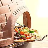 Elektrischer Pizza Ofen mit Steinbackplatte + Terrakotta-Haube, 1200Watt, Pizza direkt am Tisch backen -