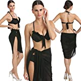 Cloudy Black Centre Bowed Fashionable 3-Piece Black Bikini Set With Incredible Wrap