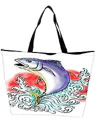Snoogg Bluefin Tuna Jumping With Waves Waterproof Bag Made Of High Strength Nylon