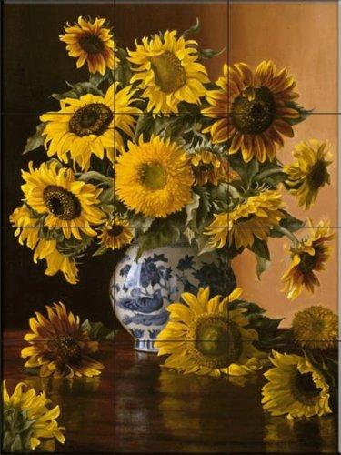 Sunflowers In A Blue Willow Vase By Christopher Pierce Kitchen Backsplash Bathroom Wall Tile Mural Vchfgjhfmcdgsegfv