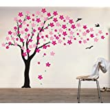 PopDecors - Drifting Flowers And Birds (71inch H) - Custom Beautiful Tree Wall Decals For Kids Rooms Teen Girls...
